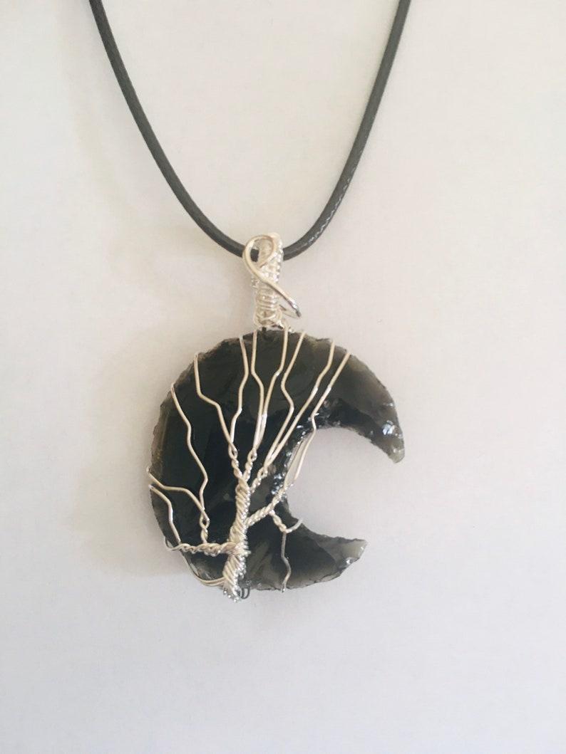 Black tourmaline moon necklace,Black tourmaline Moon Pendant,Black tourmaline Crystal,Blacktourmaline Necklace,Wire Wrapped crystal necklace
