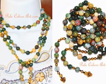"60"" Lariat Necklace,Double Wrap Necklace,Indian Agate Necklace,Gemstone,Boho,Bohemian,Beaded Lariat,Triple Wrap Lariat Necklace,Colorful"