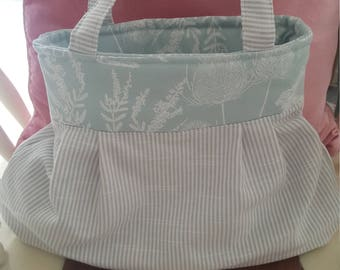 Pretty Fabric striped, hedgerow blue printed bag, handbag, shopping bag