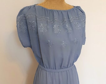 1970's dusty blue embroidered day dress