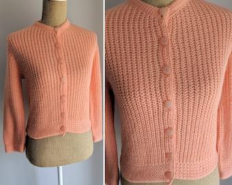 3bfa8aaab 1950 s peachy coral cardigan