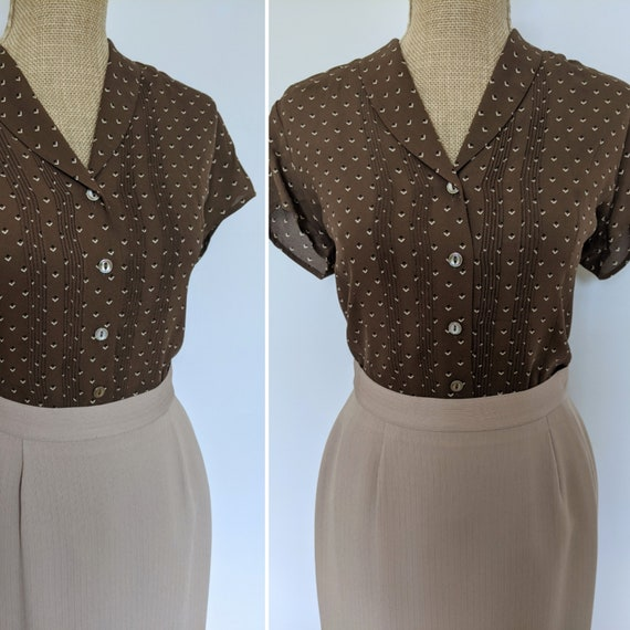 Y2K brown silk triangle blouse