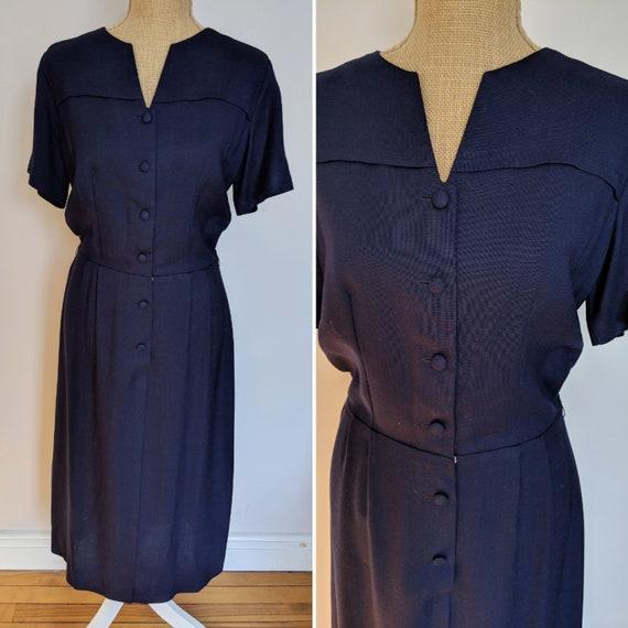 1950's navy blue day dress