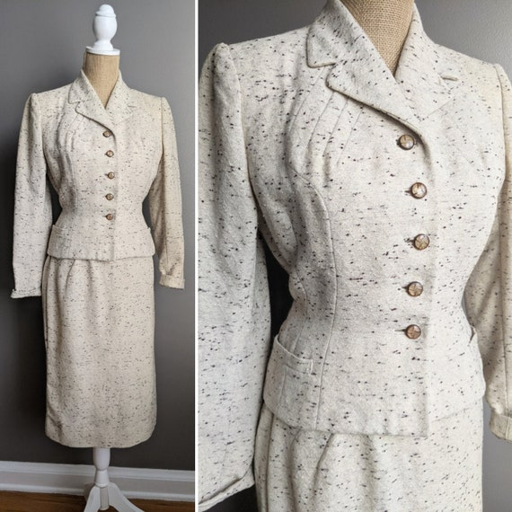 1950's speckled oatmeal skirt set