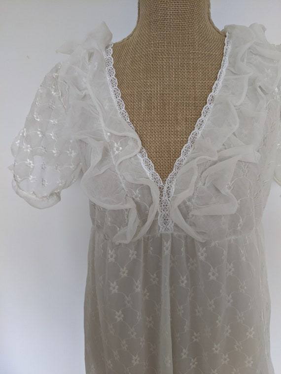 1970's embroidered chiffon nightdress - image 6