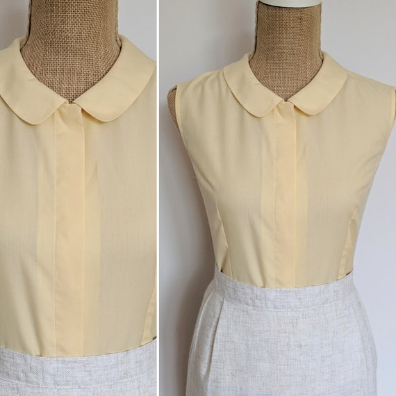 1960's peter pan collar muted yellow sleeveless bl