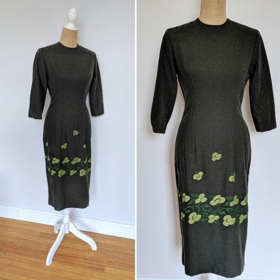 1950's/1960's dark green wool wiggle dress