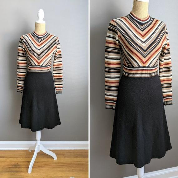 1970's chevron striped knit dress