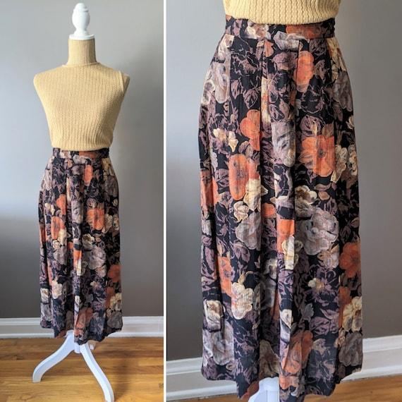 1980's/90's dark florals skirt