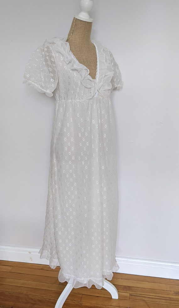 1970's embroidered chiffon nightdress - image 3