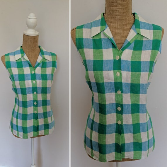1990's St. Michael checkered linen sleeveless blou