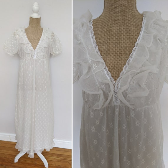 1970's embroidered chiffon nightdress - image 1