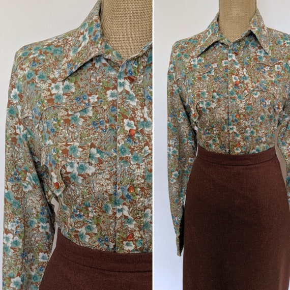 1950's floral western blouse