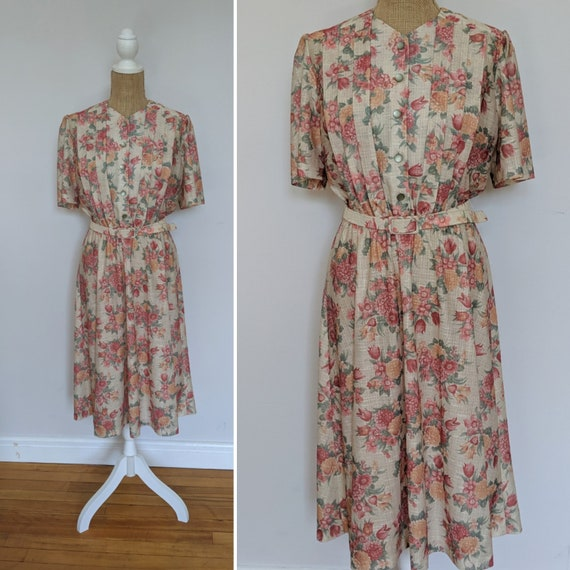 1980's belted floral bouquet dress