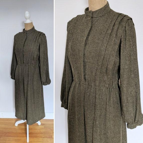 1960's/70's olive green wool shirtwaist dress