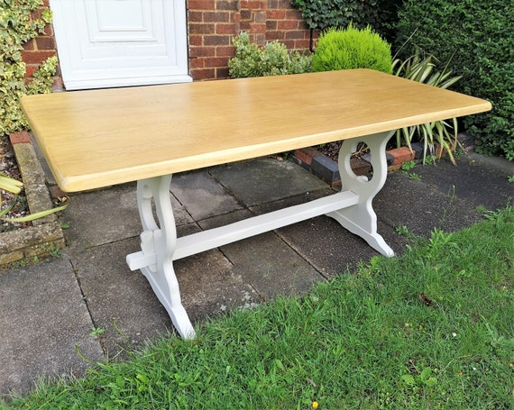 Rustic country dining table, vintage kitchen table seats 6-8, farmhouse  refectory table