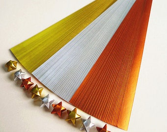 Gold Silver And Copper Jewel Tone Origami Lucky Star Paper Strips Star Folding DIY - Pack of 100 Strips