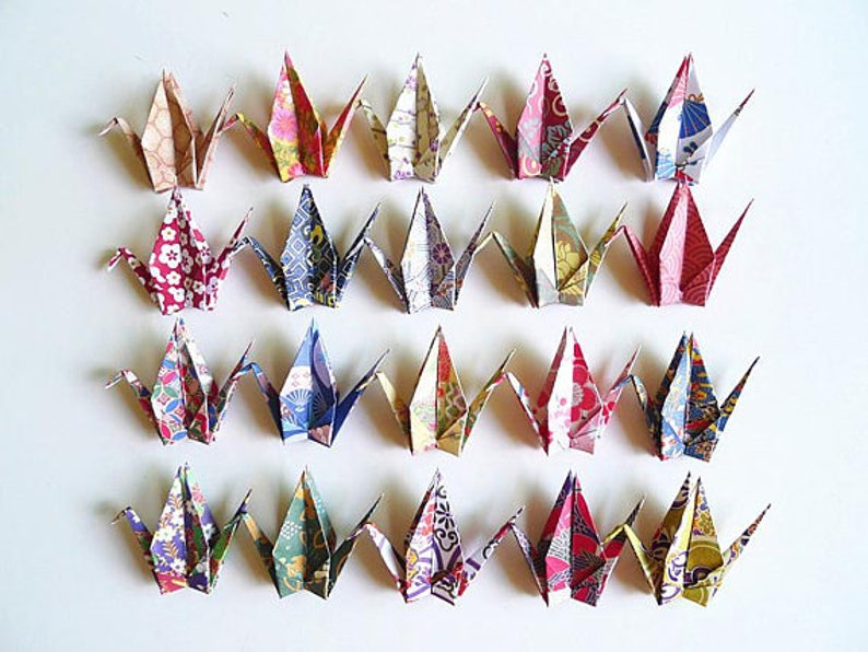 Small Japanese Chiyogami Paper Cranes in Assorted Design Origami Paper Cranes