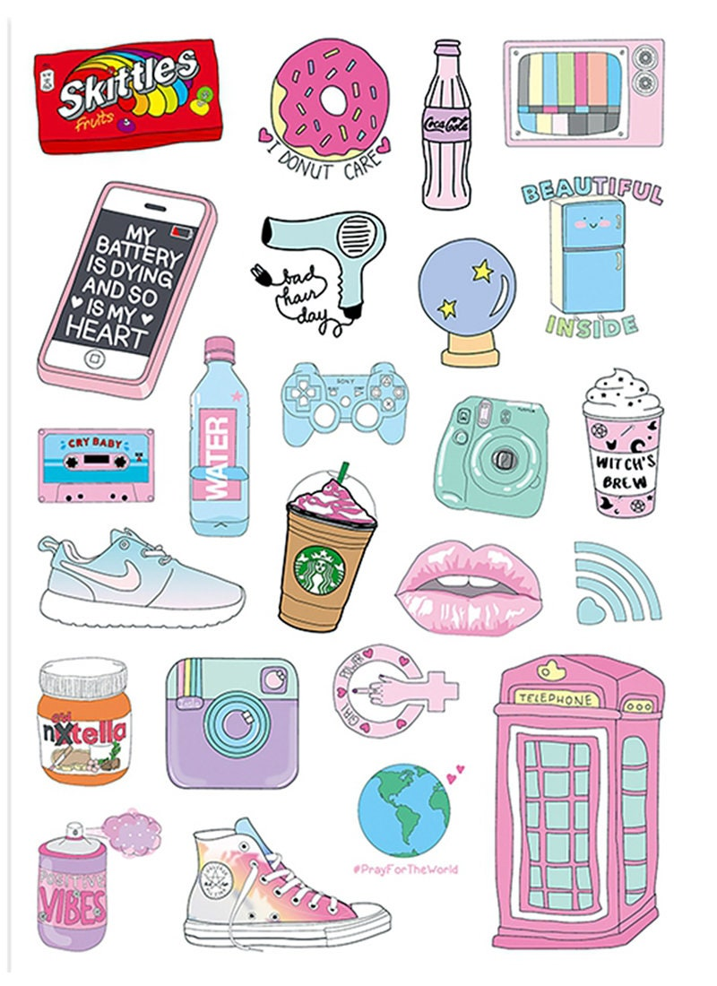24pcs, Cute Stickers, Laptop Sticker, Suitcase Sticker, Skateboard Stickers, Decorative Sticker
