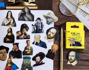 45PCS, Famous Persons Sticker, Seal Stickers, Oil Painting Sticker, Baking Seal, Gift Wrapping, Scrapbooking, Diary Deco