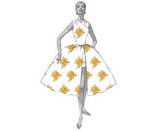 Vintage Yellow Floral Grace Kelly Rear Window Digital Fabric Print