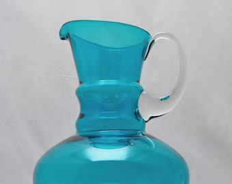 1960s Art Glass Turquoise Jug – Scandinavian?