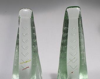 1950s Glass Chevron Obelisk Ornaments - A Pair