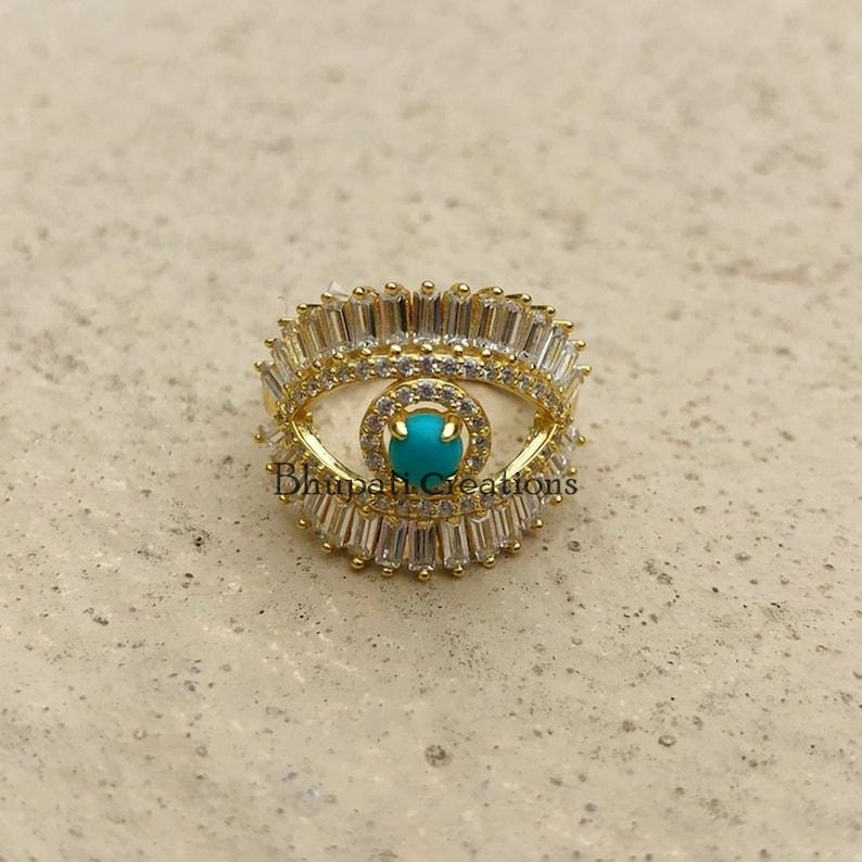925 Silver Evil Eye Ring Jewelry Antique Diamond Rings Baguette Evil Eye Rings Turquoise Gemstone Rings Best Gift jewelry for women/'s