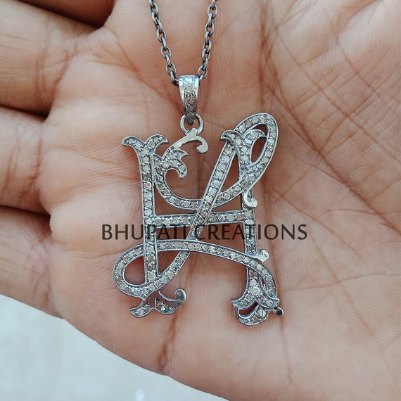 Letter Monogram Pendant Jewelry Personalized Monogram 925 Sterling Silver Monogram Pendants Wedding Gift Pave Diamond DS-SD Monogram