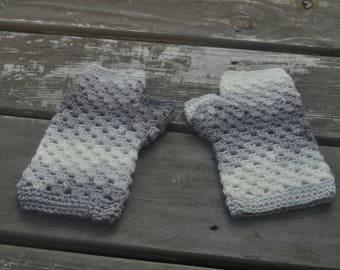 Gray and White Handwarmers -Medium