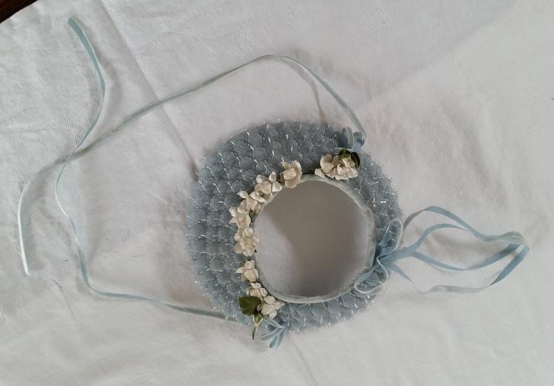 Girls 1950s Vintage Blue Spring Sun Bonnet hat