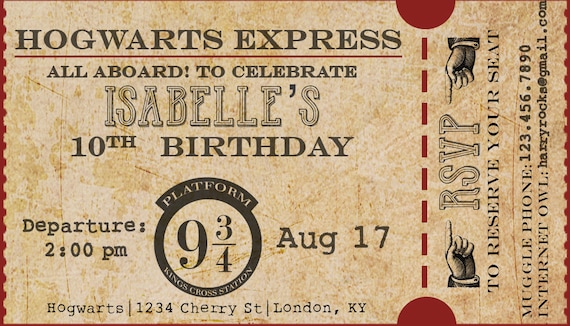Harry Potter Birthday Party Hogwarts Express Train Ticket Etsy