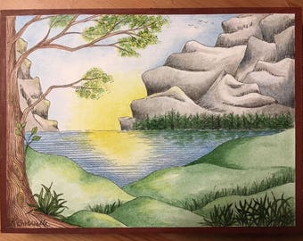 "Landscape #2 done in Pen & Ink with watercolour - original painting mounted on wood, 6x8 inches, ""Serenescape"""