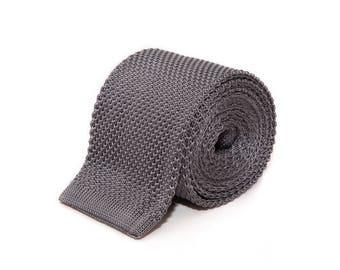 de MORÉ - silver grey knitted tie