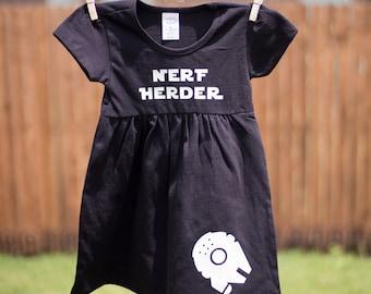 NERF HERDER Toddler Dress, Han Solo, Star Wars Toddler Girl T-Shirt Dress, Millennium Falcon, Solo