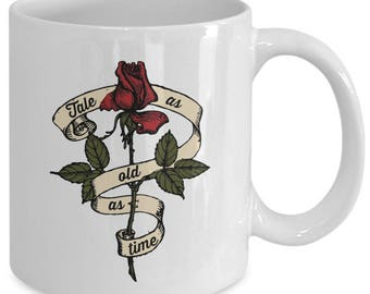 Beauty and the Beast Roses White Tea or Coffee Mug