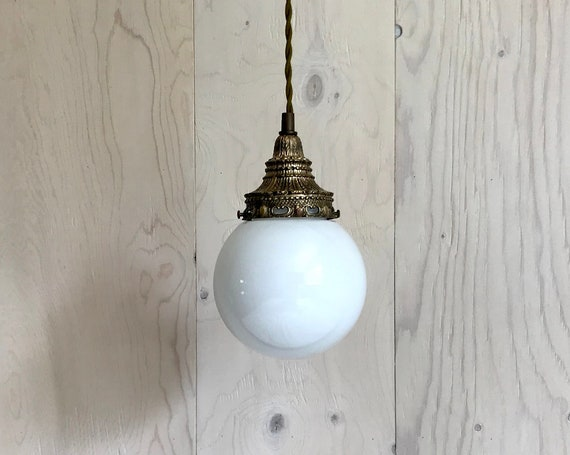 Anatole - Upcycled lighting - Pendant light - white glass globe and antique brass metal