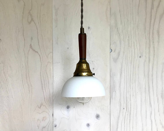 Jacob - Upcycled lighting - Pendant light - white glass globe, antique brass metal and wood