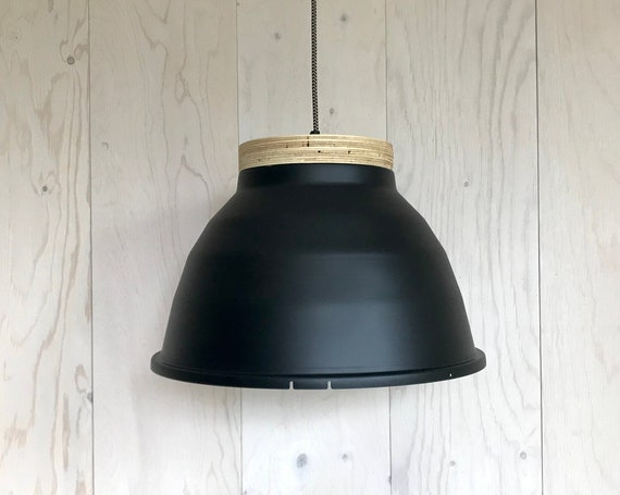 NEW 2020 - Plywood B - Upcycled lighting - Pendant light - Matte black painted aluminum and plywood