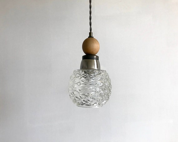 Gaston - Upcycled lighting - Pendant light - textured glass globe, silver and antique brass metal and wood