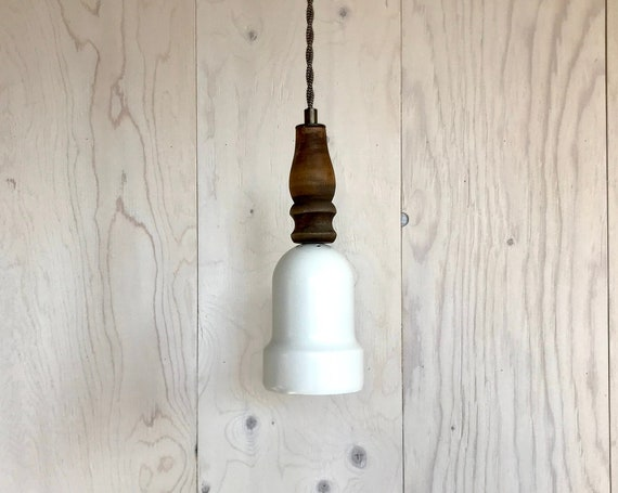 Lili - Upcycled lighting - Pendant light - White metal and wood