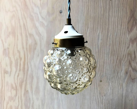 Geraldine - Upcycled lighting - Pendant light - Bubble glass globe and brass and cream metal