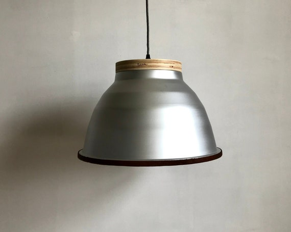 Plywood Silver - Upcycled lighting - Pendant light - Silver aluminum, plywood and brown leather