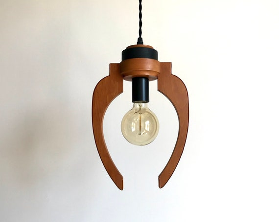 Uriel - Upcycled lighting - Pendant light - Dark wood, black metal and black and light brown leather
