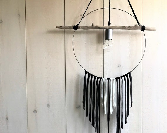 Florent - Upcycled lighting - Pendant light - Silver metal, driftwood and black and white leather strips