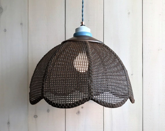 Tania - Upcycled lighting - Pendant light - Brown wicker and copper, light blue and white metal