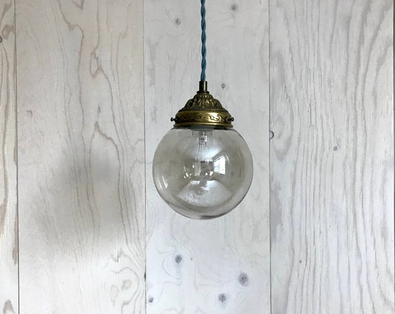 Elsie - Upcycled lighting - Pendant light - smoked glass globe and brass metal