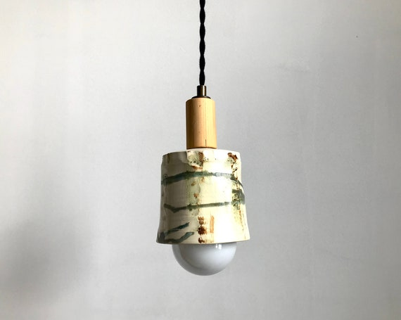 Collaboration with Zalata Ceramist - Pendant light - hand made ceramic piece and upcycled wood
