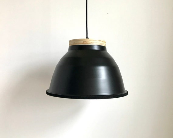 Plywood black - Upcycled lighting - Pendant light - Black aluminum metal, plywood and black leather