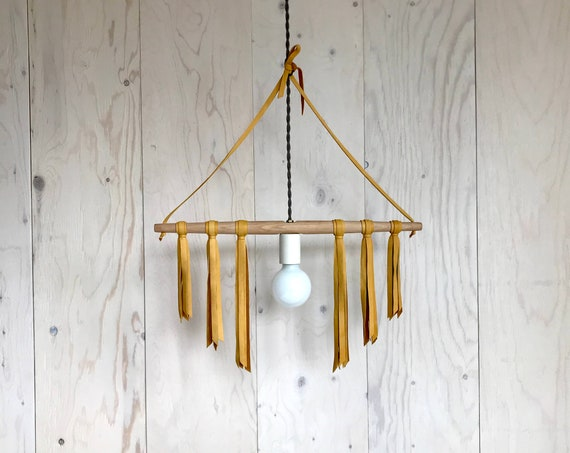 Livia - Upcycled lighting - Pendant light - wood and yellow leather